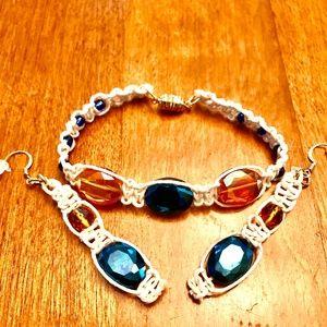 Handmade macrame bracelet and earring set